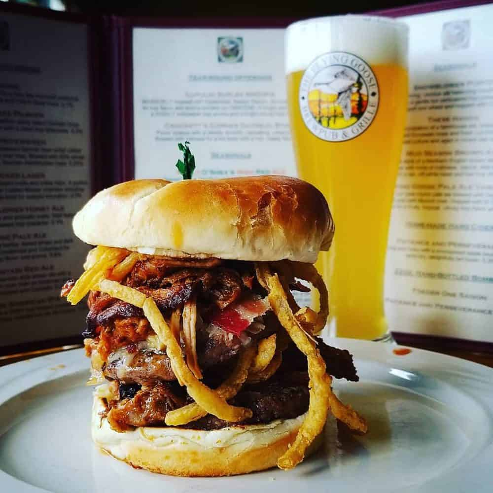 Flying Goose Brew Pub burger and fries