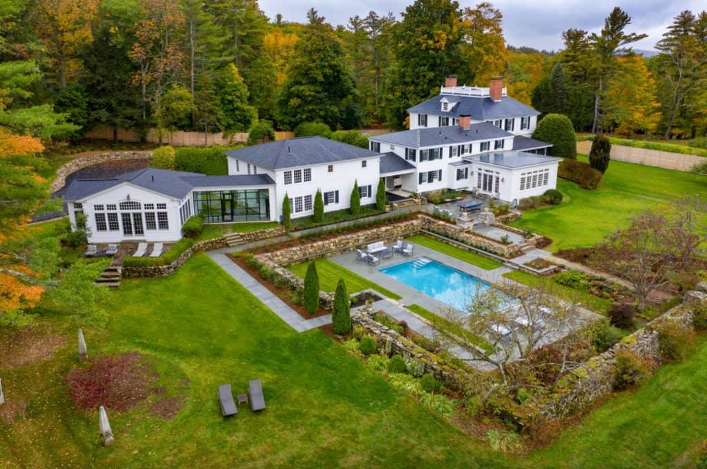 a drone photograph of a beautiful home